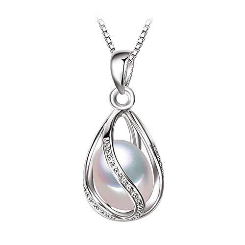 Collar de jaula con colgante de perlas de agua dulce natural, collar de declaración bohemio de plata de ley 925, joyería de perlas