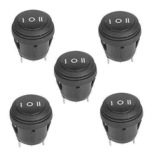 Interruptor basculante redondo de 5 piezas Botón de interruptor basculante de encendido-apagado-encendido de 3 pines para el tablero de instrumentos del barco del vehículo del coche 10A / 12