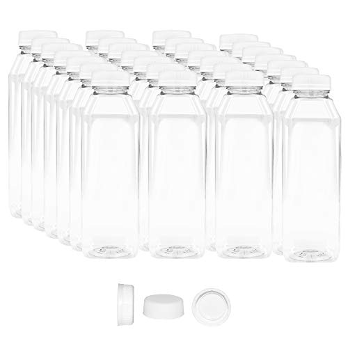 16 OZ Empty PET Plastic Juice Bottles - Pack of 35 Reusable Clear Disposable Milk Bulk Containers with White Tamper Evident Caps