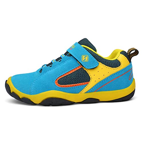 Unpowlink Kinder Schuhe Sportschuhe Ultraleicht Atmungsaktiv Turnschuhe Klettverschluss Low-Top Sneakers Laufen Schuhe Laufschuhe für Mädchen Jungen 28-37 (37 EU, Blau)