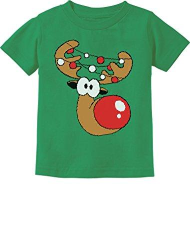 Cute Reindeer Boy Girl Christmas Shirt Toddler Infant Kids T-Shirt 5T Green