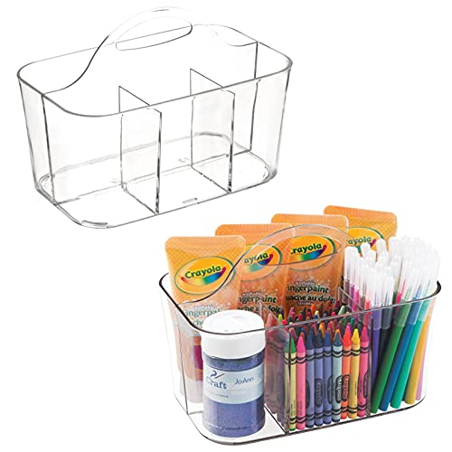 mDesign Plastic Portable Craft Storage Organizer Caddy Tote, Divided Basket Bin with Handle for Craft, Sewing, Art Supplies - Holds Paint Brushes, Colored Pencils, Stickers, Glue - 2 Pack - Clear