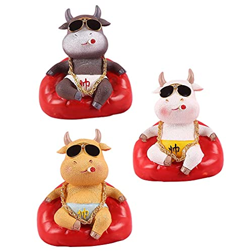QULONG Garden Ornaments Outdoor 3PCS Miniature Figurine Cow Feng Shui Ox Chinese Zodiac Year of The Ox New Year Ornament Fairy Garden Animals for Micro Landscape Plant Pots Bonsai Craft Decorations