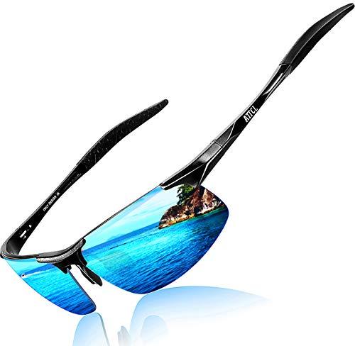 ATTCL Herren Polarisierte Treiber Glasses Sport Sonnenbrille Al-Mg Metallrahme Ultra leicht 8177 Black-BLUE