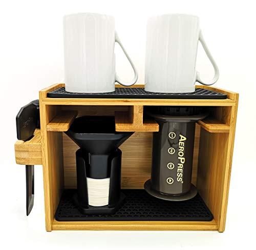 HEXNUB Soporte Organizador de bambú Premium para cafetera Aeropress para filtros, Tazas y Accesorios de la cafetera Aeropress con Alfombrilla de Silicona antigoteo - Negro
