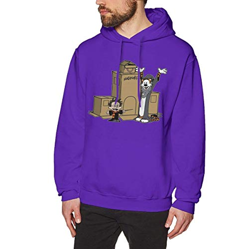 MLTseown lifangtaoT Herren Hoodie Kapuzenpullover, Calvin and Hobbes Comfortable Men Hoodies Without Pockets Purple