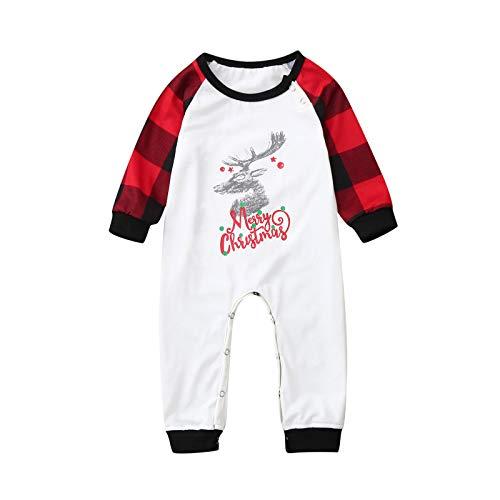 BIBOKAOKE Kerstpyjama, familie-pyjamaset, outfit, elandwit, geruit, nachtkleding, lang, fun-nachtkleding, heren, dames, jongens, meisjes, kerstnachthemd, huispak, parent kind, outfit
