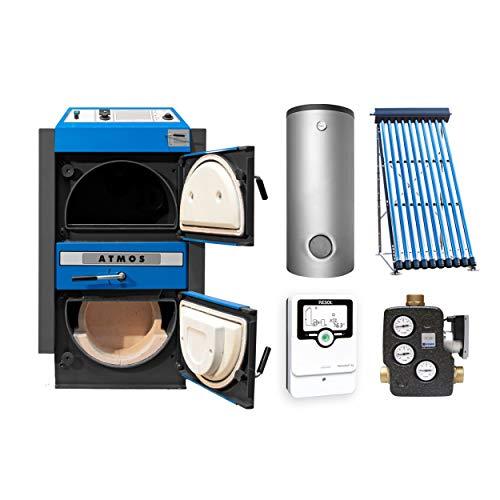 ATMOS KS3453 KC 45 S Kohlevergaserkessel - Komplett-Set + Solarthermie-Set 2 (11m²) mit 2 Pufferspeicher 825L und Hygienespeicher SHS 900 + 1 SWT