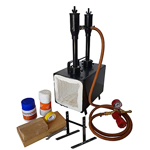 Blacksmiths Double Burner Propane Forge, 2600 F Rated, for Blacksmithing, Knife Making, Forging Tools and Equipment - Rectangle Shape
