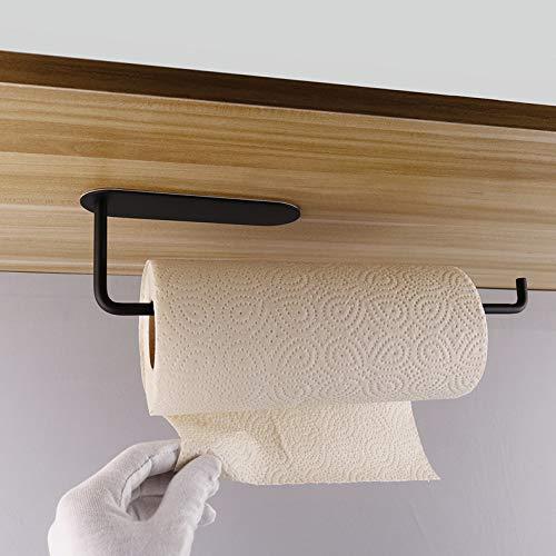 LINMETIC Papierhandtuchhalter unter dem Schrank, selbstklebend, Edelstahl, gebürstet, Schwarz