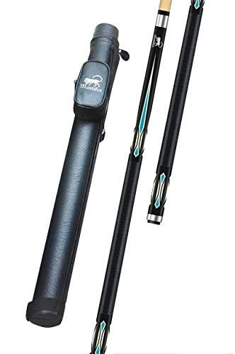 GamePoint Mystik Billard Queue MANTIKOR, Länge ca. 147 cm, 2 TLG, blau mit passendem Billard Köcher 1/1 schwarz