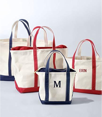 定番人気のエルエルビーン「ボート・アンド・トート・バッグ」。使い勝手のよいキャンバス地。子どもの名前やラッキーナンバーを刺繍すれば、毎日使える宝物になります*  自立するのも使いやすいポイントです。