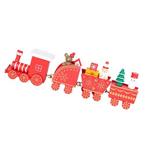 TOYANDONA Navidad Mini Caravana Tren Decoración Escaparate de Madera Ornamento Niños Coche Juguete Creativo Adorno de Navidad