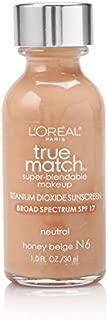 L'Oreal Paris Makeup True Match Super-Blendable Liquid Foundation, Honey Beige N6, 1 Fl Oz,1 Count