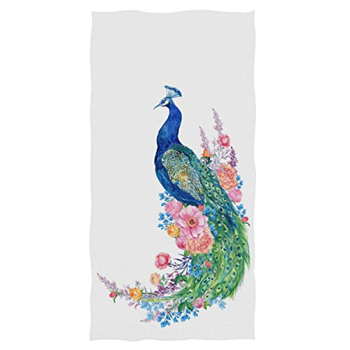 """Naanle Chic Beautiful Peacock Elegant Soft Highly Absorbent Large Decorative Hand Towels Multipurpose for Bathroom, Hotel, Gym and Spa (16"""" x 30"""",White)"""