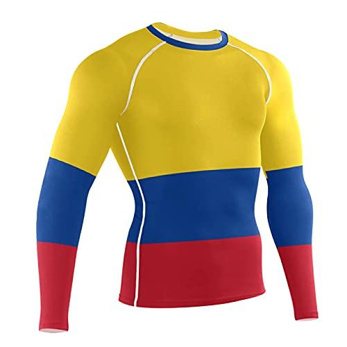 LORDWEY Bandera de Colombia para hombre, compresión de manga larga, entrenamiento de capa base, multicolor, S
