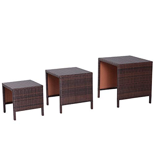 Outsunny Beistelltisch 3er Set Couchtisch Gartentisch Satztisch Balkontisch Polyrattan Braun 40x40x40/50x50x50/60x60x60 cm