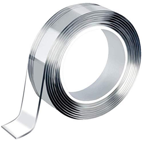 Anyshop 両面テープ 超強力 魔法のテープ はがせる のり残らず テープ 透明 防水 耐熱 滑り止め 家具固定 水洗って繰り返し利用可能 多用途 2サイズ (1m)