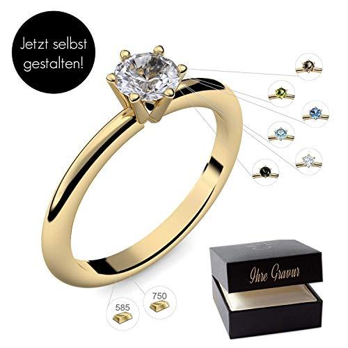 Verlobungsring Gelbgold 585 750 PERSONALISIERT + ETUI mit individueller GRAVUR Damen-Ring Heiratsantrag Solitär-Ring Zirkonia Aquamarin Turmalin Blautopas Peridot Rauchquarz