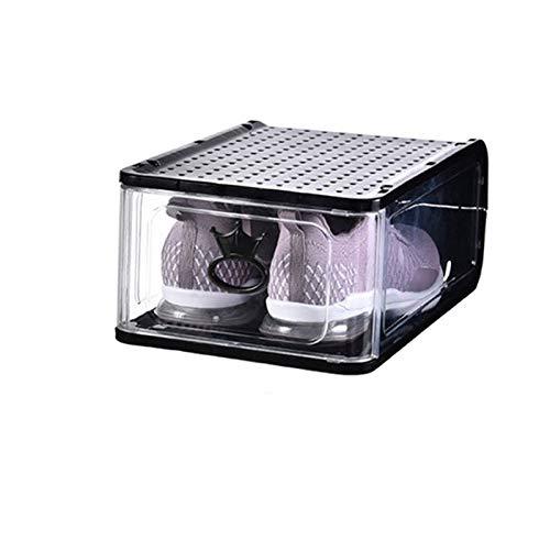 MHIBAX Caja De Zapatos Caja De Almacenamiento Tipo Cajón Transparente Zapatillas De Deporte Armario De Plástico Caja De Zapatos Zapatero Que Ahorra Espacio 13.5x31.5x21.5cm Negro (Paquete de 5)