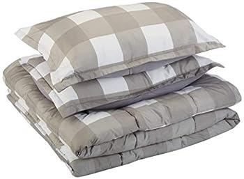 Amazon Basics Comforter Set Full / Queen Dark Grey Oversized Gingham Microfiber Ultra-Soft