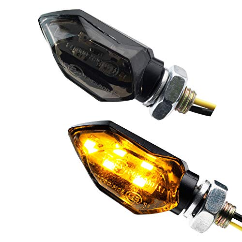 Motorrad Mini Micro LED Blinker Tight schwarz rauchgrau getönt 12V universal e-geprüft