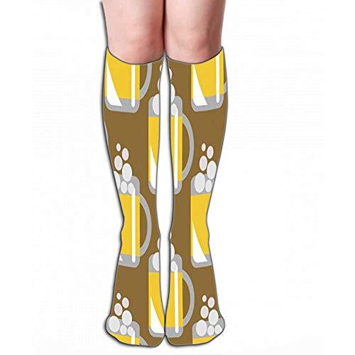 Hohe Socken Neuheit Kompression Lange Socken 50 cm (19,7 ') Für Frauen und Mädchen nahtloses Muster Nahaufnahme Biergläser braun backgr