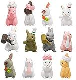 12 Pezzi Coniglietto di Pasqua Decorazioni, ZoneYan Mini Bunny Figurine, Pasqua Mini Bunny Figurine, Figurine Coniglietto, Statua da Giardino Resina in Miniatura, Micro Paesaggio Decorazioni