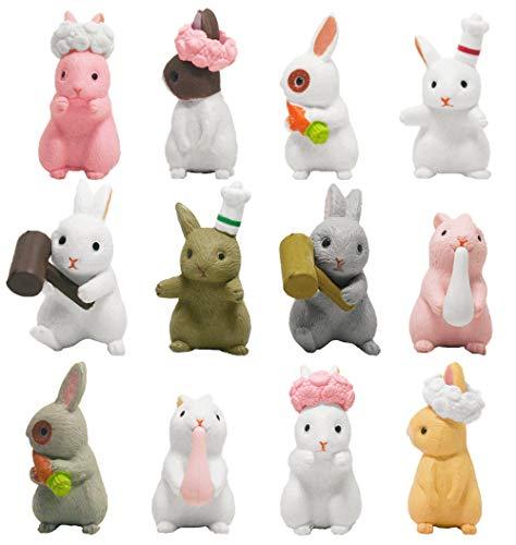 ZoneYan 12 Mini Hasen Figuren Figur, Figuren Deko Garten, Mini Figuren, Zootiere Figuren Set, Tortendeko, Süße Hasenstatue Dekoration, Miniatur Bonsai Dekor Micro Landschaft Handwerk Geschenk