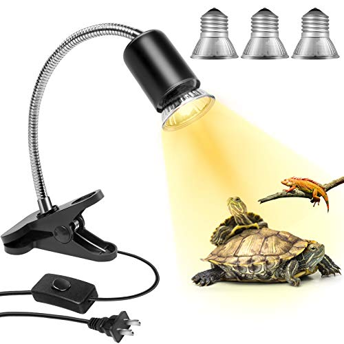 MILIFUN Reptile Heat Lamp (4 Lamps Bulb Included), Clamp Lamp Night for Aquarium with Holder Stand, Basking Light Bulb Fixture Kit with 360° Rotatable Arm for Lizard Turtle Tortoise Snake Fish Tank