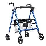 LHNLY-Andadores Estándares y Ligeros Caminante Andador con Seatand Frenos y 4 Ruedas Ligero y Plegable de Movilidad Rolling Walker para, Adultos Mayores y discapacitados, Azul