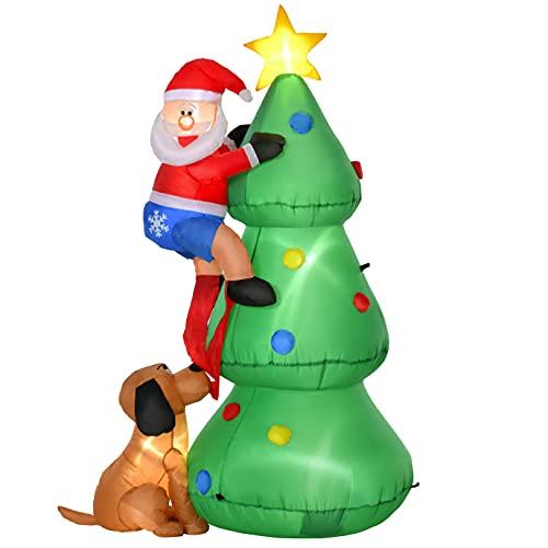 homcom Albero di Natale Gonfiabile con Babbo Natale, Cagnolino e Luci LED, Decorazione Natalizia da Esterno, 123x85x180cm