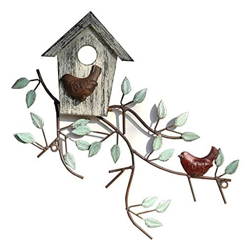 Decorazione da parete con uccelli in metallo, albero in metallo con decorazione da parete con casetta per uccelli, decorazione da parete con foglia di metallo, per esterno, interno, giardino, cortile