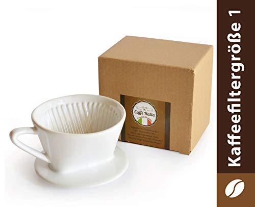 Caffé Italia Permanent Kaffeefilter - Handfilter Kaffee mit exzellentem aromareichem Kaffeegeschmack - Porzellan Kaffeefilter - Dauerfilter in Größe 1 für 1-2 Tassen - weiß