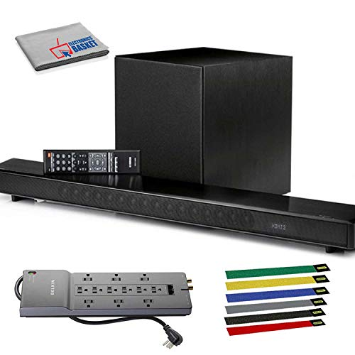 Yamaha MusicCast YSP-2700 107W 7.1-Channel Soundbar System (Black) with Surge Protector, Cable Ties, and Microfiber Cloth