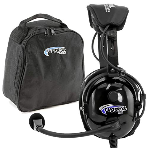 Rugged. Air RA900 General Aviation Pilot Headset with Gel Ear Seals and Cloth Ear Covers - Featuring Stereo/Mono Switch, GA Dual Plugs and MP3 Music Input