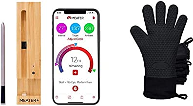 New MEATER+165ft Long Range Smart Wireless Meat Thermometer for The Oven Grill Kitchen BBQ Smoker Rotisserie with Bluetooth and WiFi Digital Connectivity Bundled with HogoR BBQ Grill Black Glove