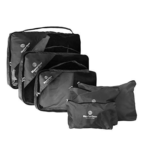 MasterGear Organizzatore Viaggio - Set da 6 Organizer Valigia 3Custodie + Borsa per Biancheria, Scarpe e Cosmetici