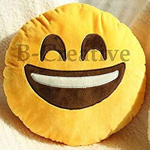 B-Creative - Cojín redondo de emoticono con 21 estilos, relleno suave, 30,48 cm