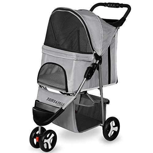 Paws & Pals 3 Wheeler Elite Jogger Pet Stroller Cat/Dog Easy to Walk Folding Travel Carrier, Gray
