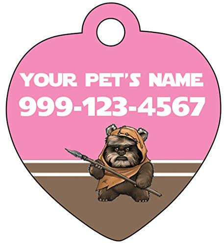 uDesignUSA Disney Star Wars Ewok Custom Pink Pet Id Tag for Dogs & Cats Personalized w/Name & Number