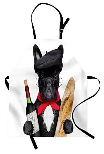 ABAKUHAUS Bulldogge Kochschürze, Französischer Hund in Einem Hut mit Rotwein und Baguette Brot Gourmet Parisienne Animal, Farbfest Höhenverstellbar Waschbar Klarer Digitaldruck, Mehrfarbig