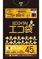 ゴミ袋 45L 650x800x0.030厚 黒 10枚x60冊/箱 LLDPE素材 (黒, 厚さ0.030㎜)