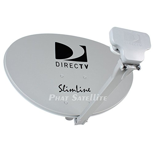 READY TO INSTALL - DIRECTV 4K Slimline SWM3 Ultra HD Satellite Dish Package w/UHD Digital Reverse Band RB SWM3 LNB, Low Profile Short Mast, RG6 Coaxial Cable