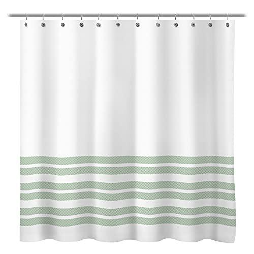 Sunlit Design Double Stripes Fabric Shower Curtain, Light Green Stripes Shower Curtains, Modern Style Refreshing Striped Design Bathroom Decor
