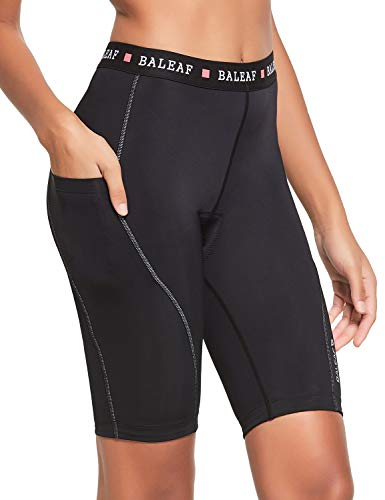 BALEAF Women's Cycling Bike Shorts 3D Gel Padded Biking Bicycle Shorts High Waist Pockets UPF50+ Black XL
