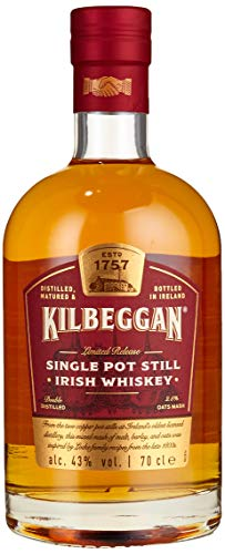 Kilbeggan Single Pot Still Malt Irish Whiskey, Nachklang mit Anklängen von Hafer, 43% Vol, 1 x 0,7l
