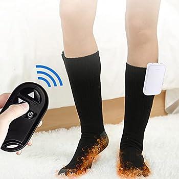 Chaussette Chauffante électriques, Thermiques Chaussettes avec 3 Réglages de Chaleur, Chauffe-Pieds Froids d'hiver Thermiques avec Batterie Rechargeable Type C 4000mAh 3,7V (B)