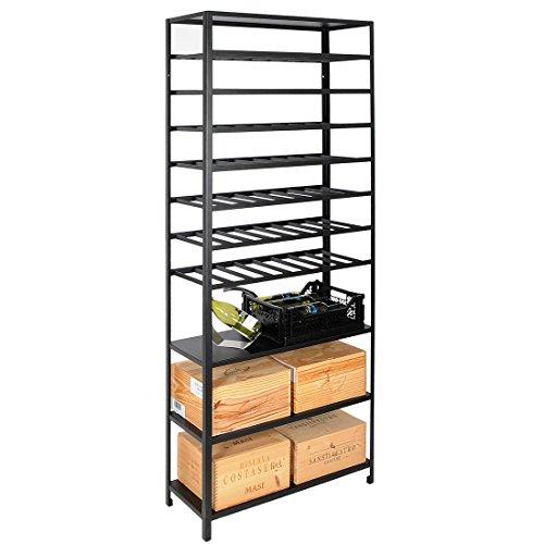 Weinregal/Flaschenregal BLACK PURE Serie 2, mit 3 Kisten Fächern, 2-tlg. - H 200 x B 80 x T 30 cm