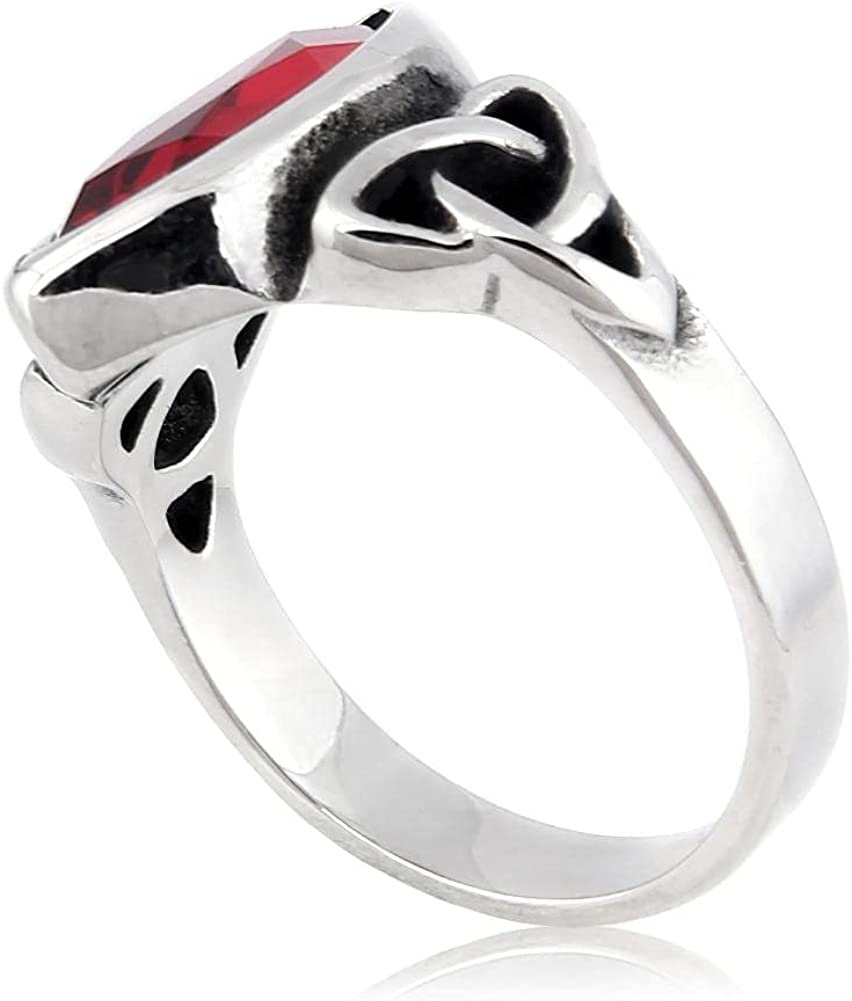 BAVIPOWER Viking Celtic Triquetra Knot Stone Ring Trinity Eternity Stainless Steel Signet Charming Protection Jewelry